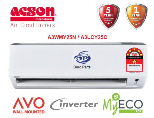Acson 2.5HP Inverter Air Conditioner R32 AVO Series A3WMY25N