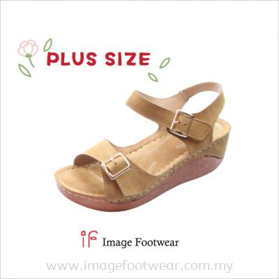 PlusSize Women 2 inch Sandals- PS-880-2 TAN Colour