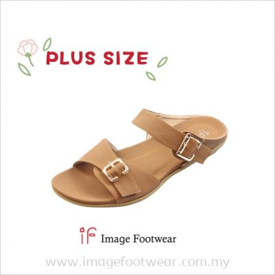PlusSize Women Flat Slipper- PS-1231-8 TAN Colour