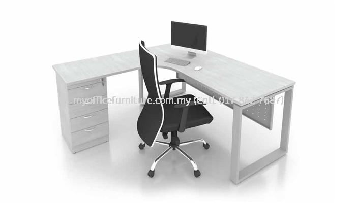 L-SHAPE TABLE C/W SQUARE LEG & FIXED PEDESTAL 4D (RM 904.00/UNIT)