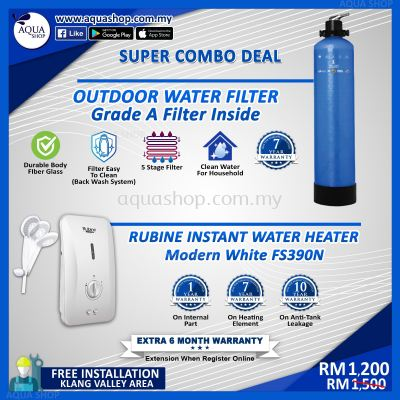 Combo Aqua Shop Frp Outdoor Water Filter Grade A With Rubine Water Heater