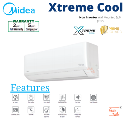 Midea 1hp Non Inverter R32 Wall Mounted Extreme Cool MSAG-10CRN8