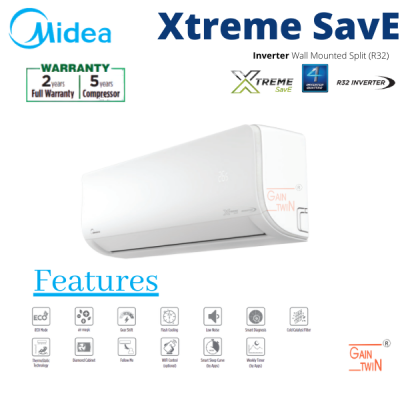 Midea 1.5hp Inverter R32 Wall Mounted MSXS-13CRDN8