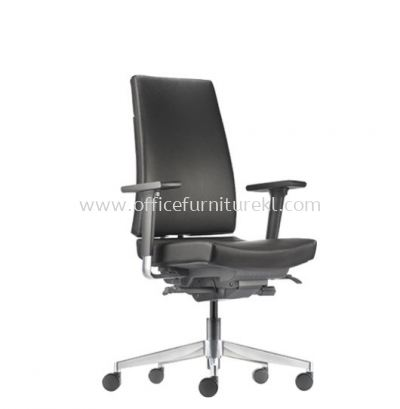 CLOVER MEDIUM BACK LEATHER CHAIR WITH ALUMINIUM DIE-CAST BASE ACV 6111L