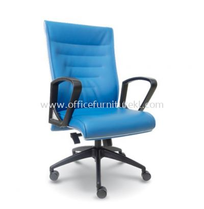 HALLEN EXECUTIVE MEDIUM BACK LEATHER ARM CHAIR WITH CHROME TRIMMING LINE