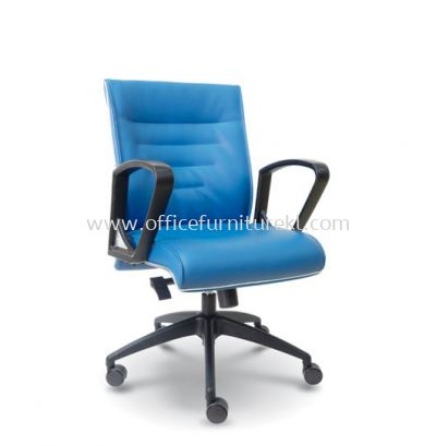 HALLEN EXECUTIVE LOW BACK LEATHER ARM CHAIR WITH CHROME TRIMMING LINE