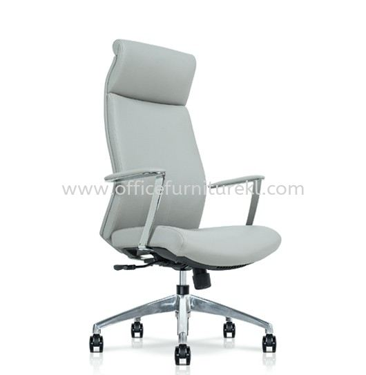 DARQUE EXECUTIVE HIGH BACK LEATHER CHAIR C/W ALUMINIUM DIE-CAST BASE