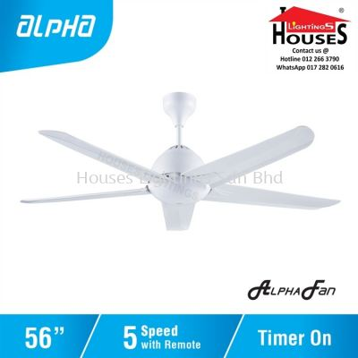 ALPHA AlphaFan - AX20 WH 5B 56 Inch Ceiling Fan with 5 Blades (5 Speed Remote)