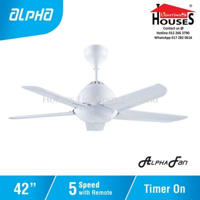 ALPHA AlphaFan - AX20 WH 5B 42 Inch Ceiling Fan with 5 Blades (5 Speed Remote)