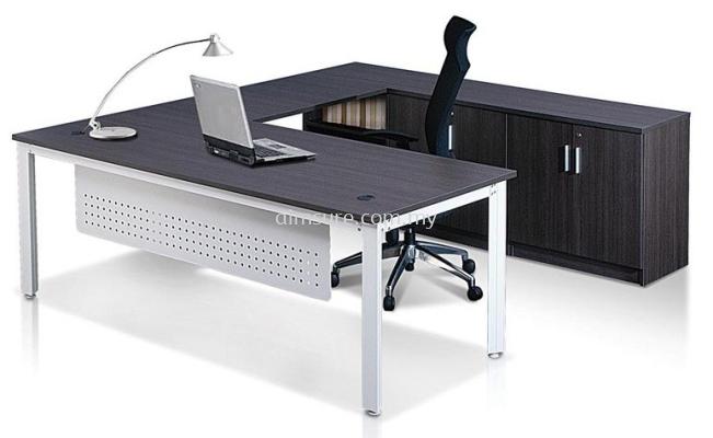 Vanda L shape director table with credenza return n modesty panel