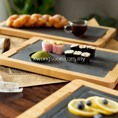 VOLCANL STONE PLATE & WOODEN SERVING TRAY