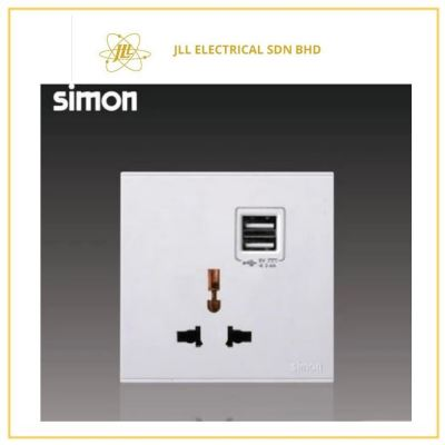 Simon Switch E6 72E725-26 10A Multiple/Universal Socket Outlet Double USB Charging Outlet (5V 2A) White