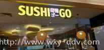 SUSHI GO Aluminium Box Up Signboard Aluminium 3D Box Up Lettering