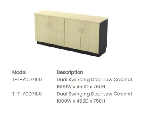 T-YDD7160 Dual Swinging Door Low Cabinet 1600W x 450D x 750H