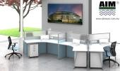 6 gang Y shape workstation AIM Slim Block System Office furniture Office table Office Workstation