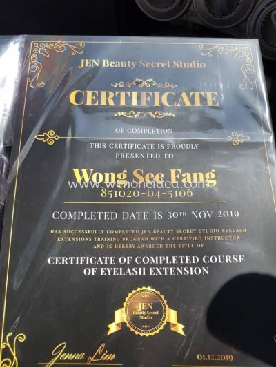 Certificate of Completed Course