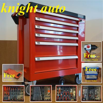 Free-208pcs 6 Drawer Tool Cart with Tools Roller Cabinet ID32209