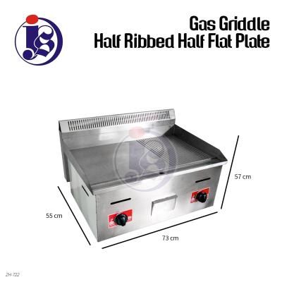 Gas Griddle Half Ribbed Half Flat Plate