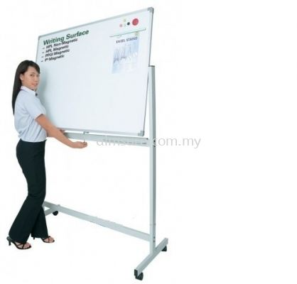 Double sided magnetic whiteboard with mobile stand