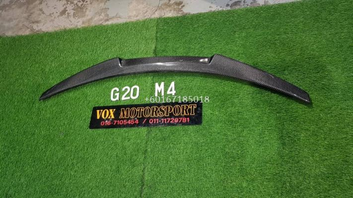 bmw 3 series g20 boot lip spoiler m4 style add on upgrade performance look carbon fiber material brand new set