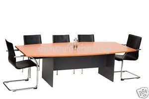 Boat shape meeting table with dark grey leg
