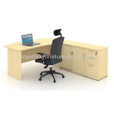 F01890 D Shape Executive Table, Side Cabinet and Fixed Pedestal Set B (Maple)