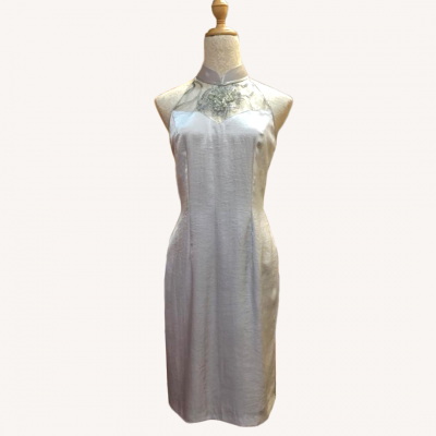 (Sold Out)����ɫ�������� Size L Cut in Cheongsam/Qi Pao Satin Midi Dress - Silver White