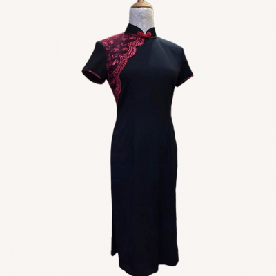 (Sold Out) ��˿/��ɫ���� Size S Red Lace/Cheongsam/Qipao Midi Dress - Black