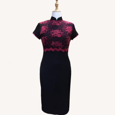 Sold Out-��˿/��ɫ���� Size L Red Lace/Cheongsam Qipao Midi Dress - Black