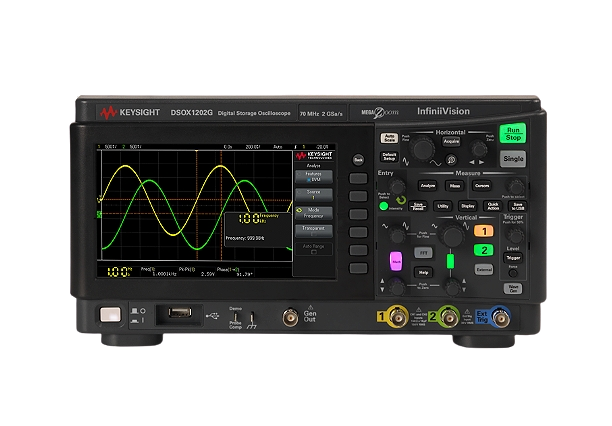 KEYSIGHT DSOX1202G Oscilloscope: 70/100/200MHz, 2 Analog Channel, with a built-in Waveform Generator