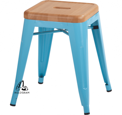 METAL STOOL WITH WOODEN SEAT WM_0322