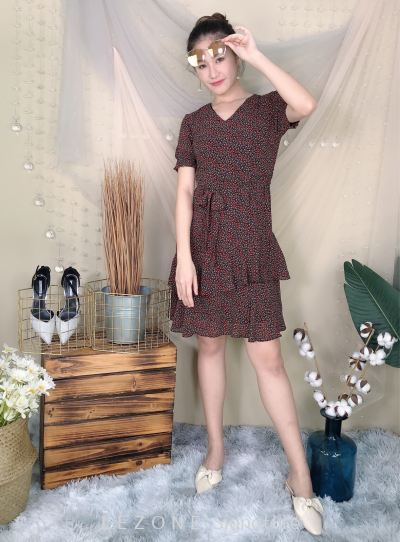23679 Floral Ruffle Sleeved Dress