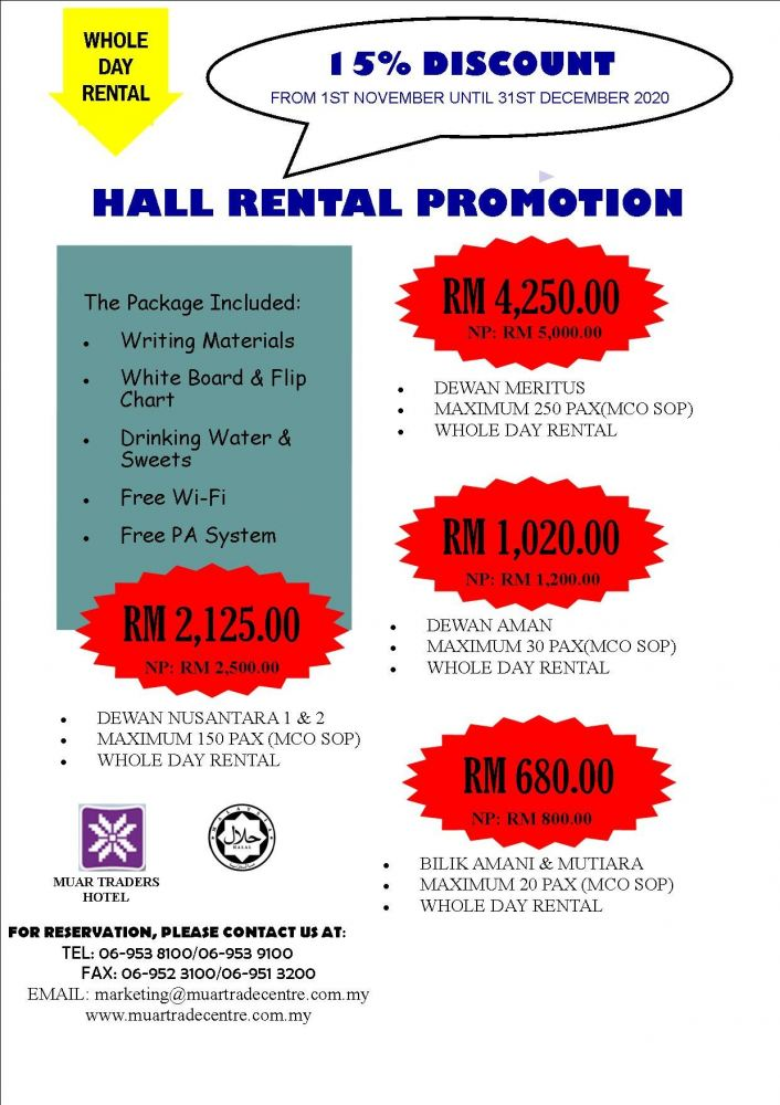 WHOLE DAY HALL RENTAL PROMOTION