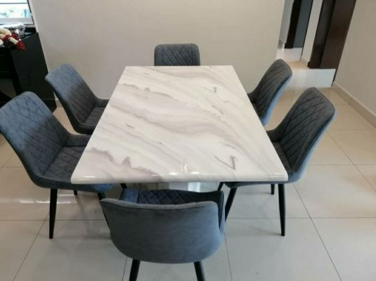 marble dinning table with designer simple chair penang Air itam