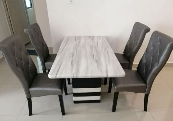 Marble Dinning Table with wooden leg