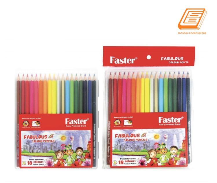 Faster - 18 Colours Fabulous Colour Pencils - (Cp-F-718)