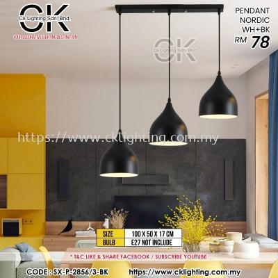 CK LIGHTING PENDANT 3 IN 1 NORDIC WH+BK (SX-P-2856/3-BK)