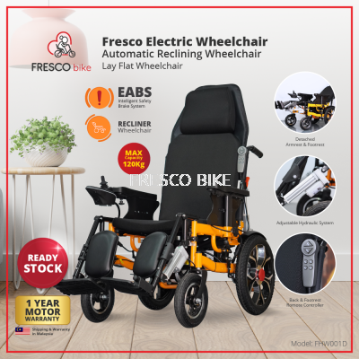 Fresco Lie Down Electric Wheelchair Automatic Reclining Wheelchair Lay Flat Wheelchair