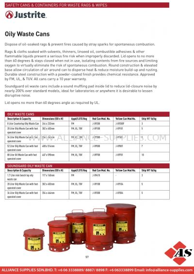 Safety Cans & Containers For Waste Rags & Wipes