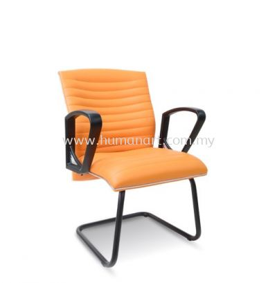 JOME VISITOR LEATHER CHAIR WITH CHROME TRIMMING LINE