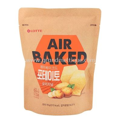 LOTTE AIR BAKED POP CHIP CHEESE 乐天原味非油炸薯片 85G