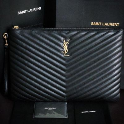 Brand New YSL Black Large Pouch GHW