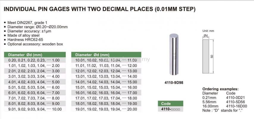INDIVIDUAL PIN GAUGE WITH TWO DECIMAL PLACES (0.01MM STEP)