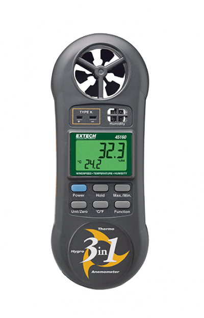 EXTECH 45160 : 3-in-1 Humidity, Temperature and Airflow meter