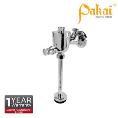 Pakai Exposed Manual Push Button Chrome Plated Urinal Flush Valve With Straight Down Pipe And Brass