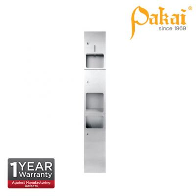 Pakai 3-IN-1 Stainless Steel Towel Dispenser with Automatic Hand Dryer & Waste Receptacle. PK-REC-3+