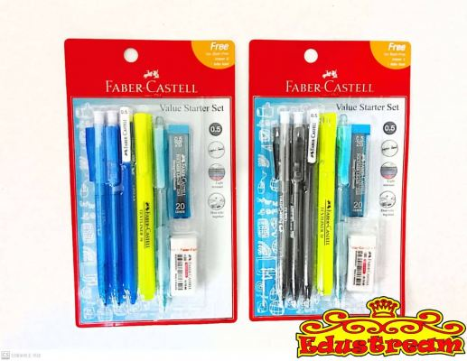FABER CASTELL VALUE STARTER SET BLUE / BLACK 0.5 MM