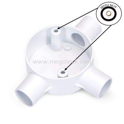 Circular 3 Way Tee Box          (White) (With Nut)