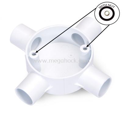 Circular 4 Way Cross Box             (White) (With Nut)