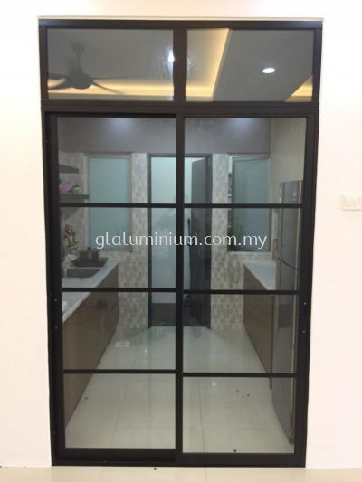 Sliding doors above fix + powder coating ( black) + clear glass @Mahkota Garden Residence, Jalan Mahkota Garden, Bandar Mahkota Cheras, Kuala a